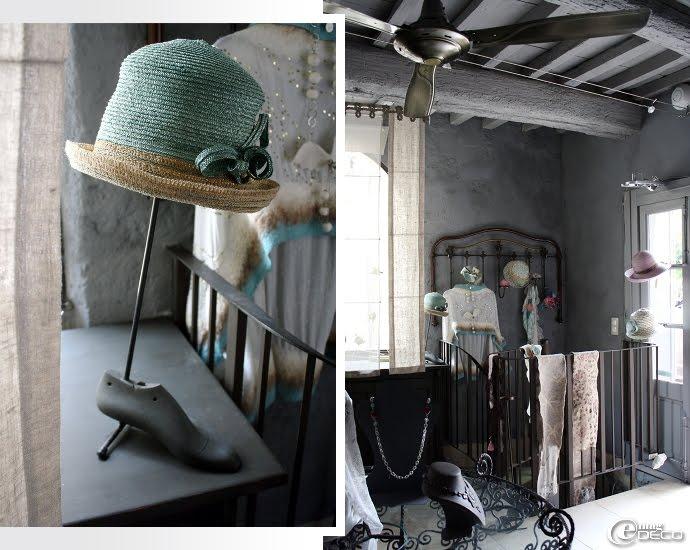 Chapeau en paille de couleur dans la boutique Petit Béguin à Uzès
