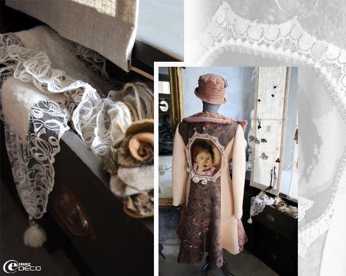 Écharpe en feutre et dentelle et manteau, créations d'Annie Aillet