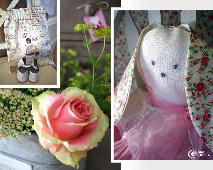 Détail de la poupée lapin Oscar & Lila
