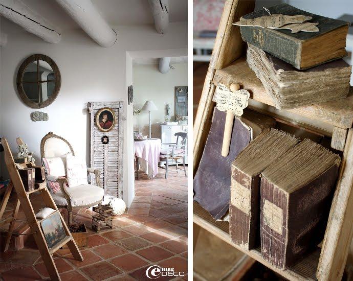 Escabeau et vieux livres pour une décoration brocante