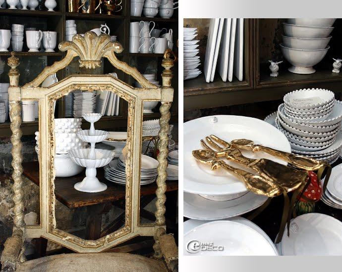 Vaisselle Astier de Villatte et couverts dorés en céramique Kühn Keramik