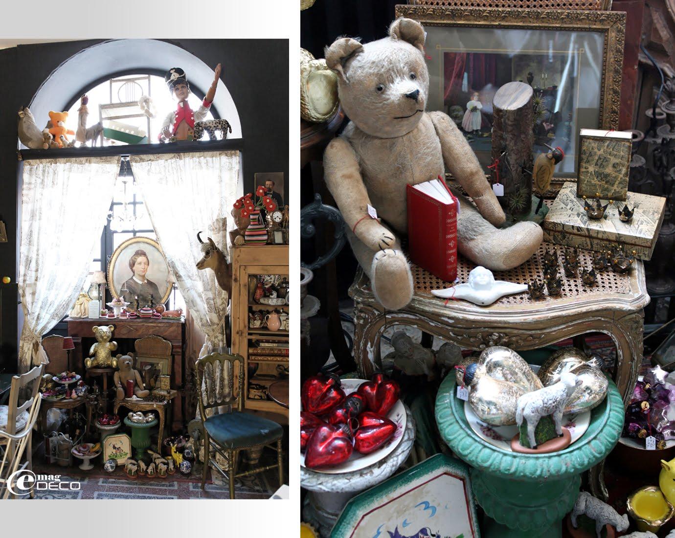 Mise en scène sur le thème du jouet dans le salon de thé et boutique Ad Libitum à Privas