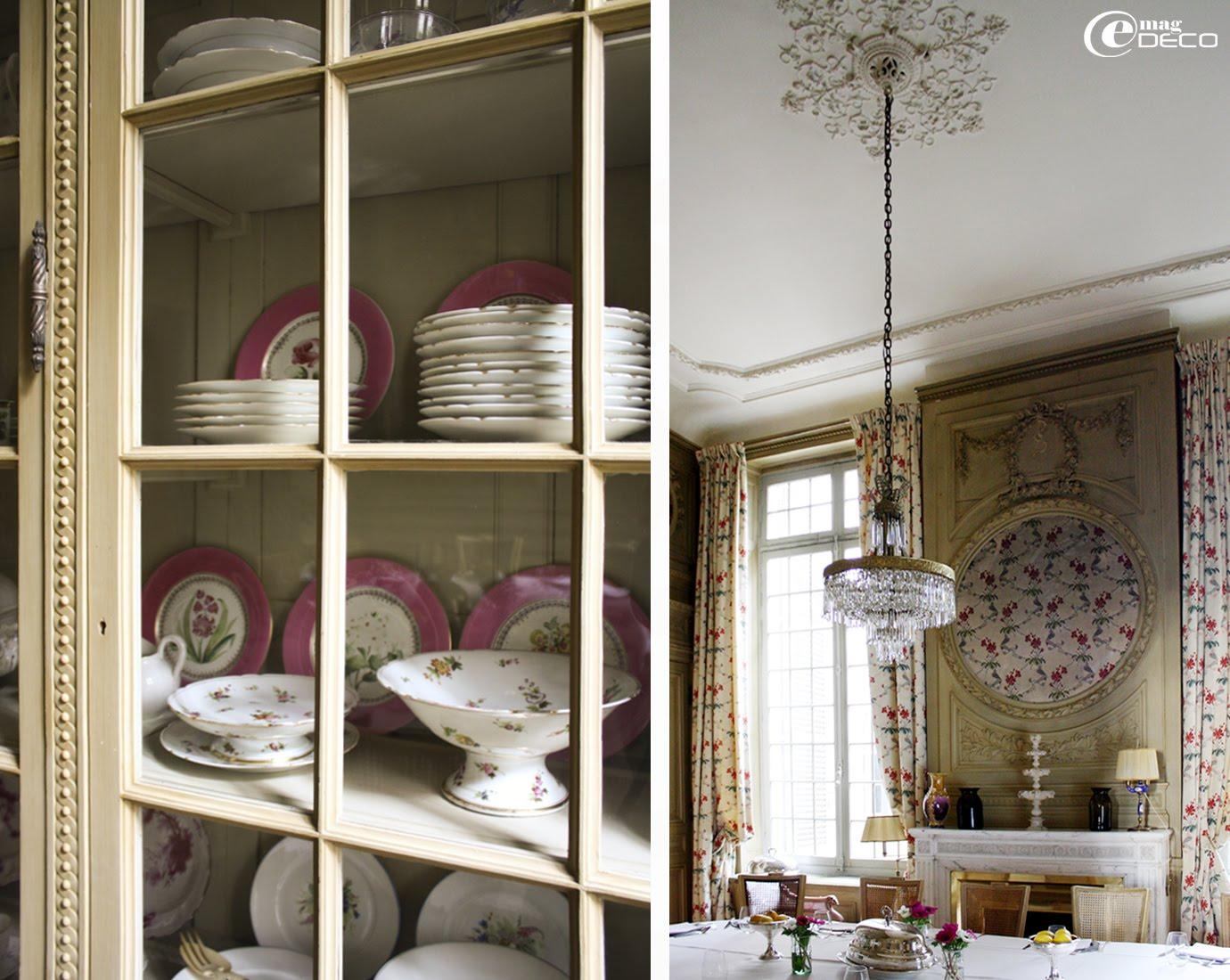 Vaisselier accueillant une collection de porcelaines fines chinée dans le salon Napoléon III, Hôtel La Mirande, Avignon