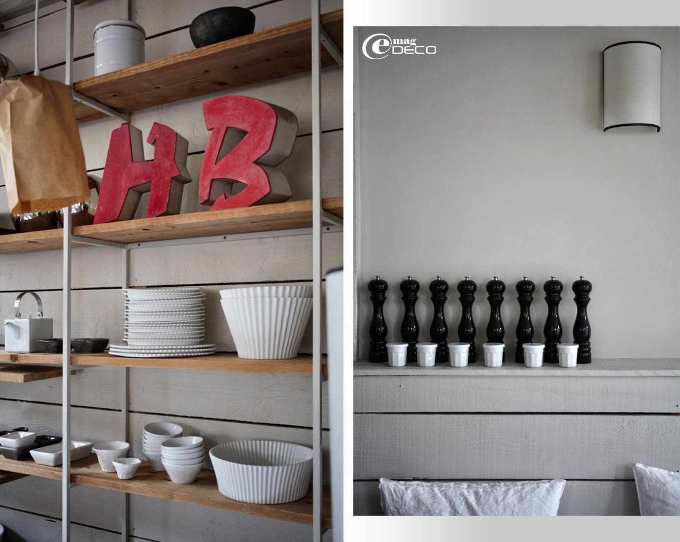 Vaisselle blanche de Paola Navone et Atelier Belart Création sur une étagère de l'hôtel La Féline Blanche