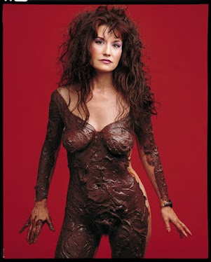 Karen Finley smeared in chocolate