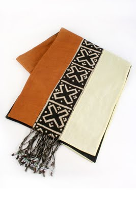 Photo Of Swahili African Modernu0027s Bamako Mudcloth Table Runner With Glass  Bead Fringe.