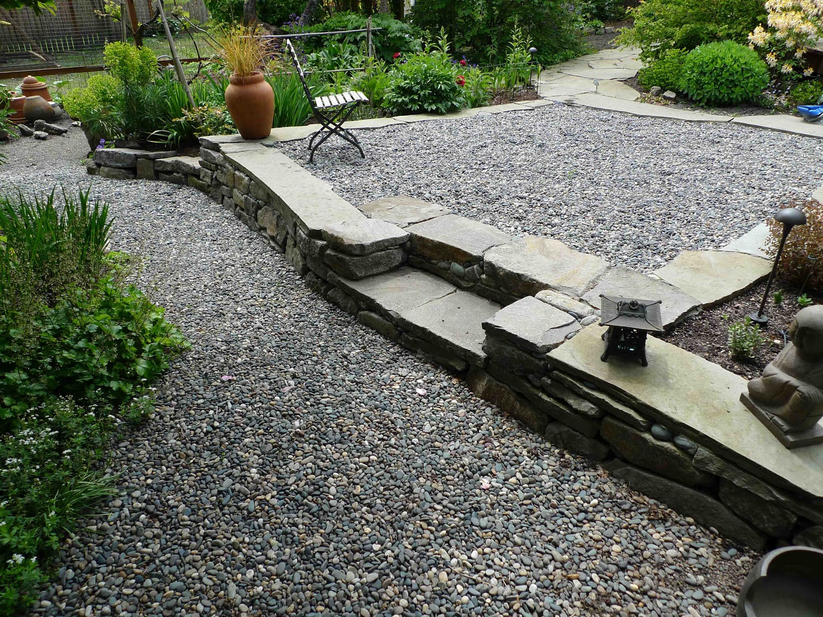 Jeffrey bale 39 s world of gardens permeability in the garden for Garden designs using pebbles