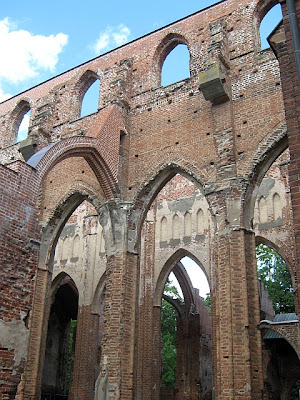 close up of cathedral church ruins Tartu Estonia