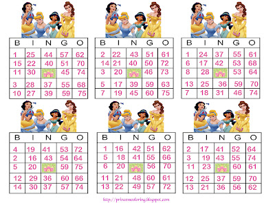 Princess Coloring Pages Brings You Bingo Cards So Can Play With Six Friends Click On The Image To View Full Size Then Press CONTROL Control And