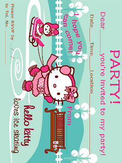 Heres A Free Hello Kitty Printable Party Invitation That Features Skating On Ice To Print It Simply Click The Image View Full Size
