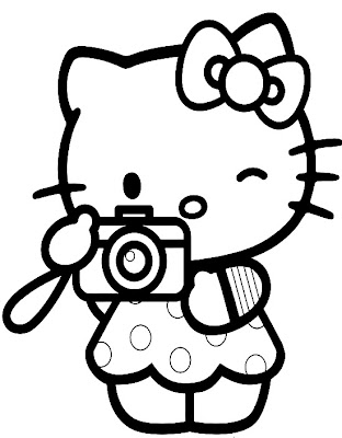 Valentine's Day coloring page, heart coloring page. Hello Kitty with Heart