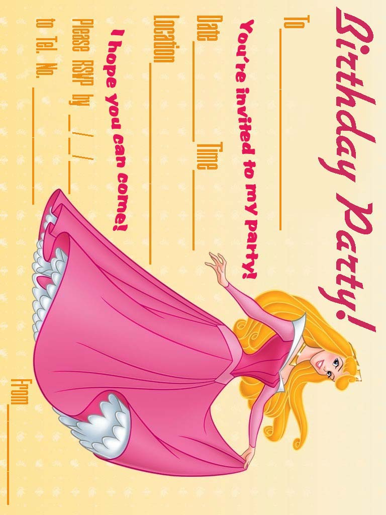 printable princess invitations disney princess birthday – Sleeping Beauty Party Invitations