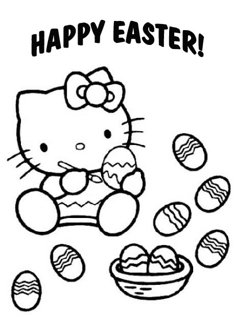 cute hello kitty colouring pages. Kitty Easter coloring page