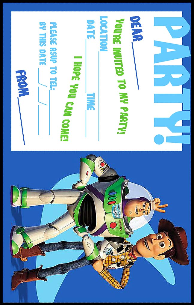 Irresistible image inside free printable toy story invitations