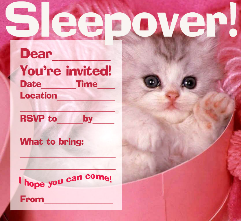 Free party invitations & cards: slumber party - kids printable