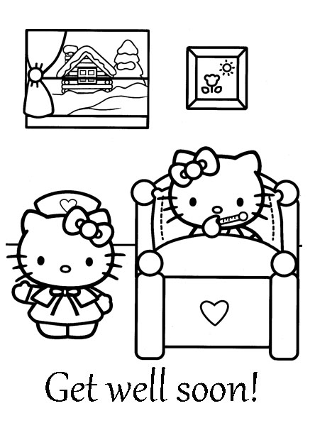 get well soon coloring sheet hello kitty