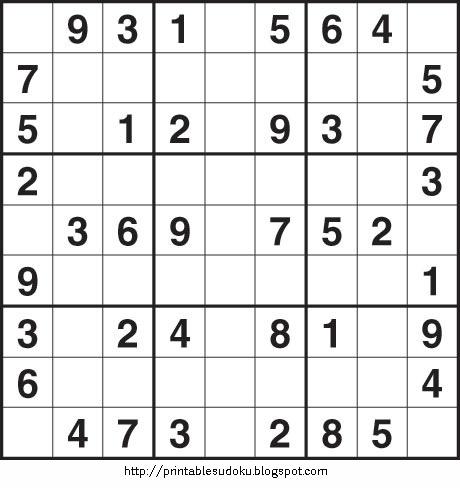 Sudoku Puzzle Printable on Printable Sudoku