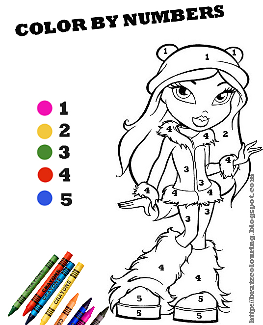 BRATZ COLORING PAGES COLOR BY NUMBERS