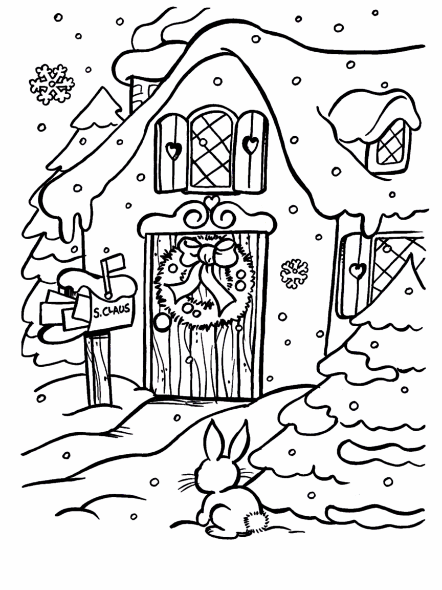 christmas village houses coloring pages - photo#20