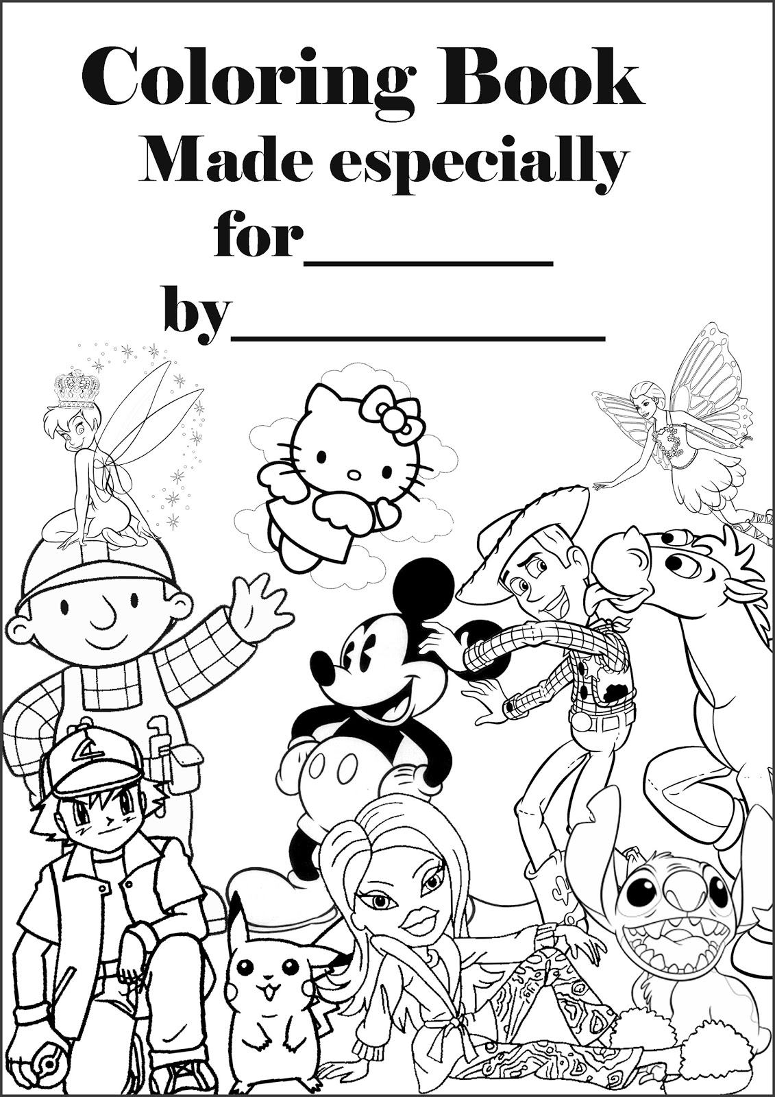 BARBIE COLORING PAGES PERSONALISED BOOK COVER