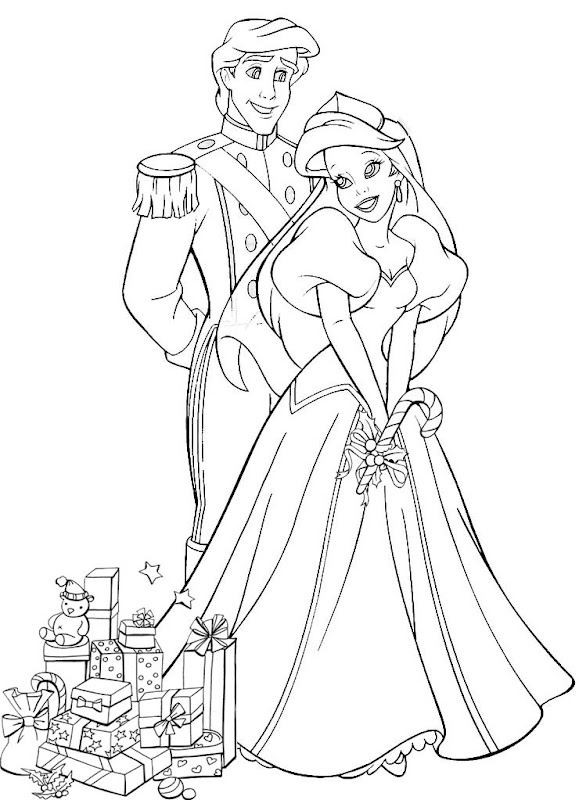 ARIEL THE LITTLE MERMAID AND PHILIP AT CHRISTMAS - COLORING title=