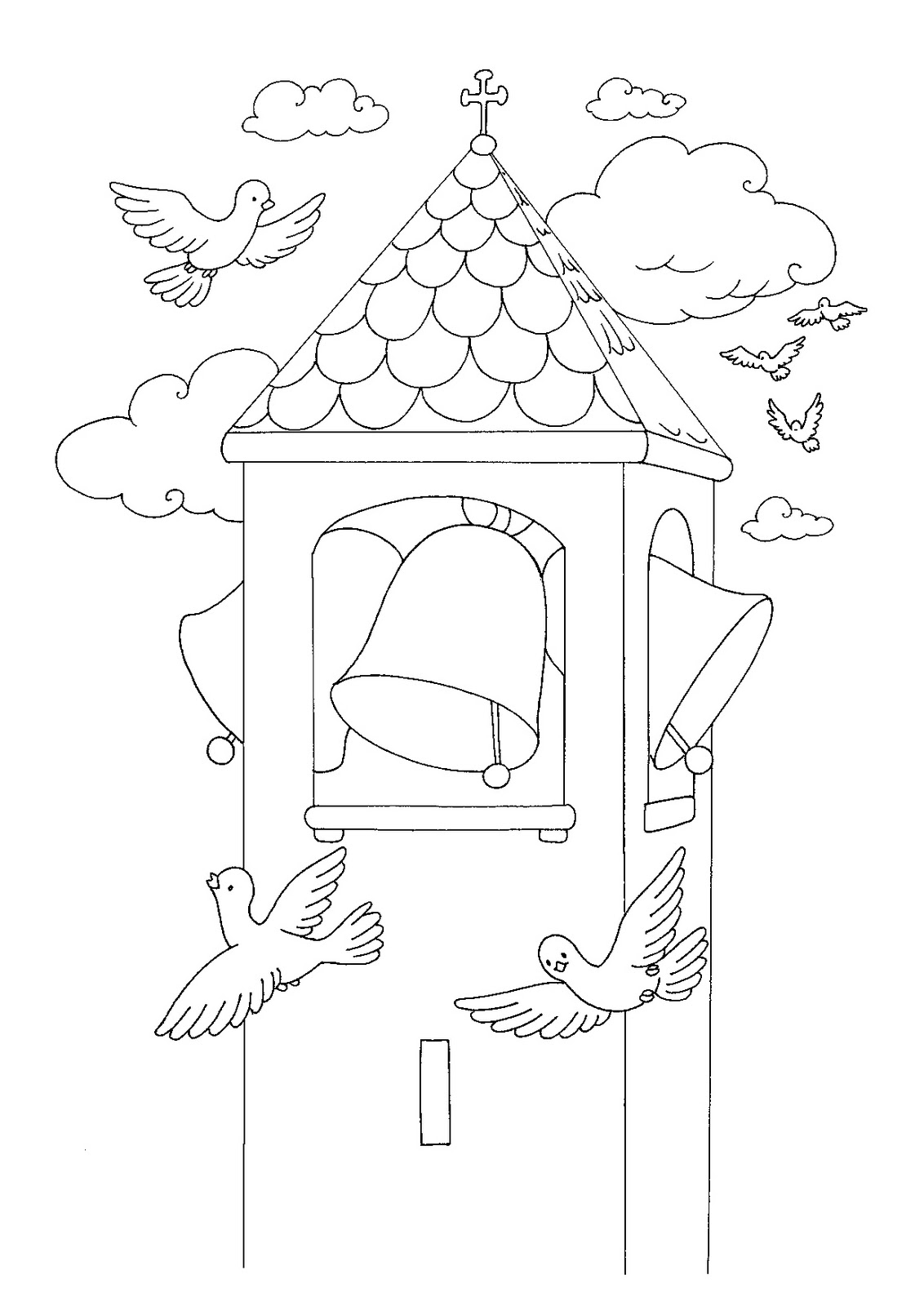 EASTER COLOURING CHURCH BELL TOWER EASTER COLOURING PICTURE
