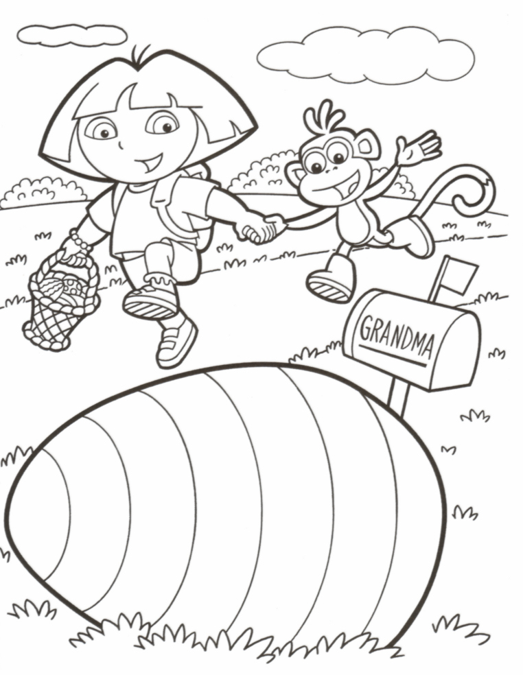 EASTER COLOURING DORA EASTER COLOURING PAGE