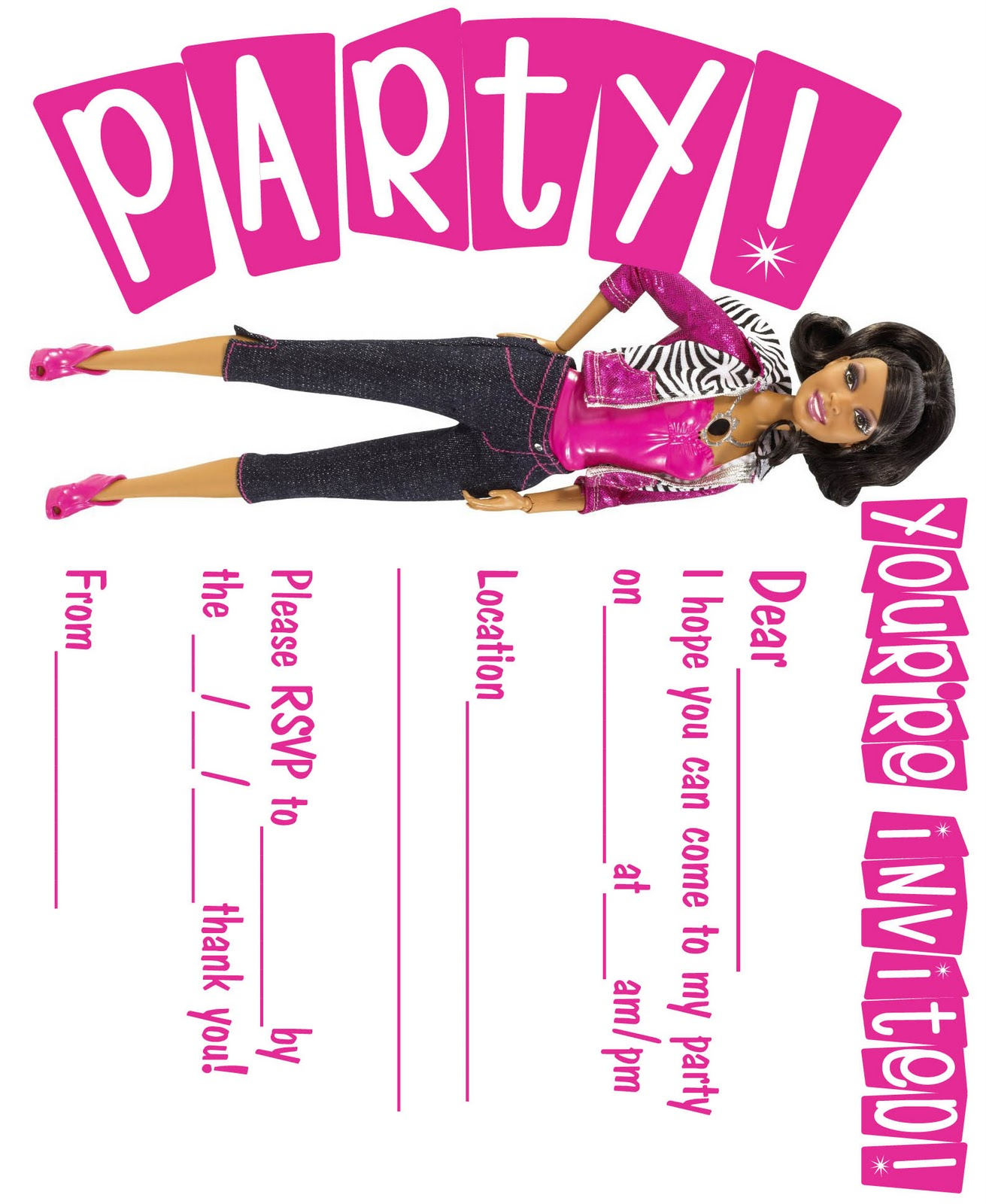 BARBIE COLORING PAGES: BLACK AFRICAN AMERICAN INVITATION AND THANK YOU ...