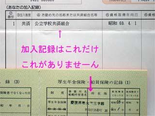 ねんきん特別便の加入記録
