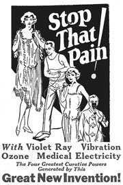 An old advertisement claims one can stop that pain with violet ray vibration.