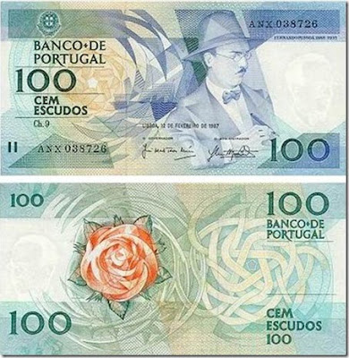 frente e verso da velha nota de cem escudos (100$00) com a efígie de Fernando Pessoa