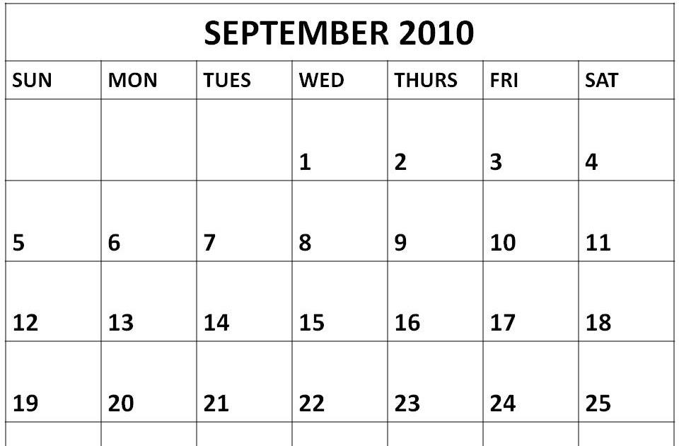 1 month calendar