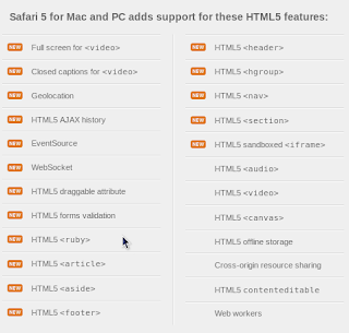 Apple claiming that Safari 5 supports several HTML5 elements