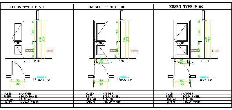 contoh gambar detail kusen pintu dan jendela rumah tinggal