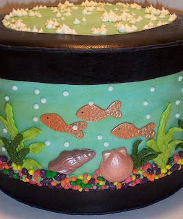 close up of aquarium birthday cake