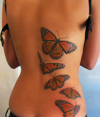 Butterfly Japanese Tattoo In Located Behand The back