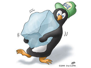 Cartoon Penguin Ice Delivery