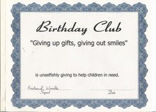 Birthday Club Certificate