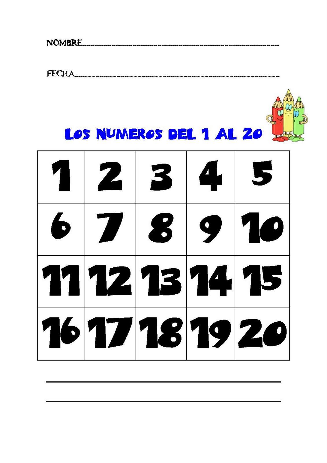 RECURSOS PARA EL AULA: NÚMEROS DEL 1 AL 20