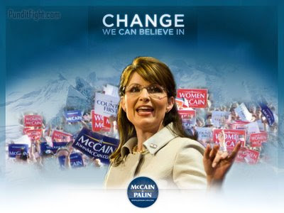 sarah palin, wallpaper, change, obama, believe