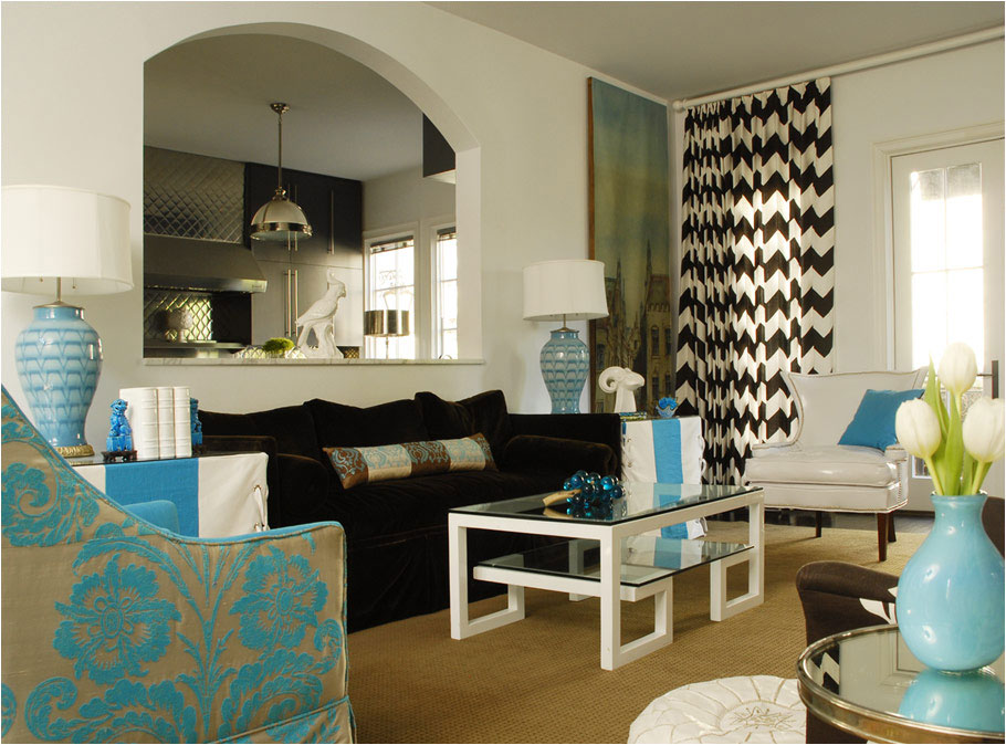 living+room+brown+sofa+turquoise+chair+chevron+drapes Brown and Turquoise Living Room