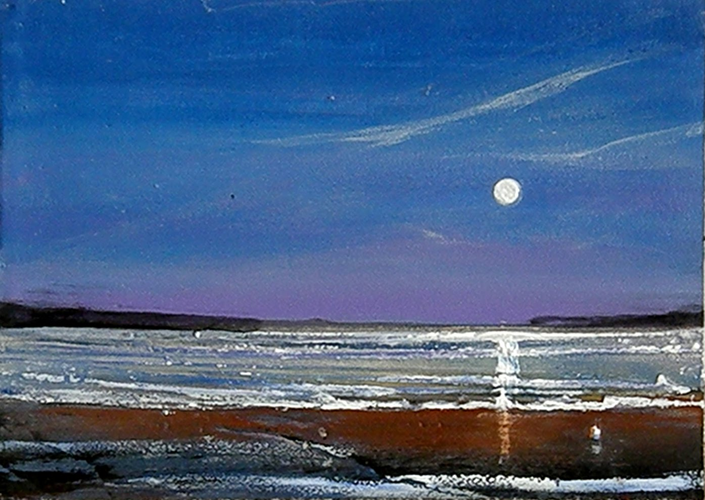 Toni Grote Spiritual Art From My Heart To Yours July 12 Nighttime Beach Person Original Painting