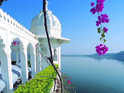 A hotel with a lakeview in Rajasthan Source Rajasthan Tours