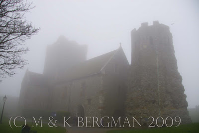 Dover Castle, shrouded in mist