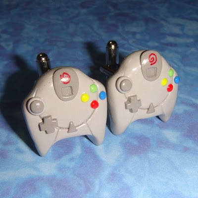 Sega Dreamcast controller polymer clay cuff links