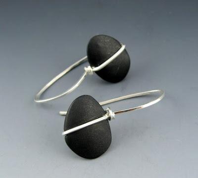 polymer clay pebble earrings