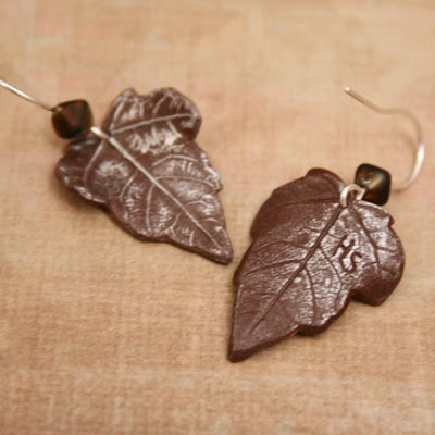 polymer clay leaf Impressions jewelry