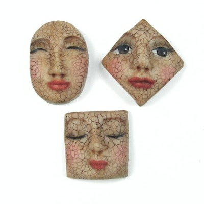 polymer clay face  cabochon