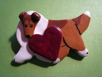 polymer clay dog pin