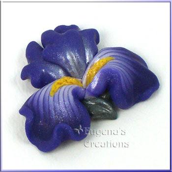 polymer clay iris pendant